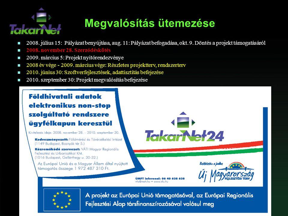 Megvalósítás ütemezése n 2008. július 15: Pályázat benyújtása, aug. 11: Pályázat befogadása, okt. 9. Döntés a projekt támogatásáról n 2008. november 2