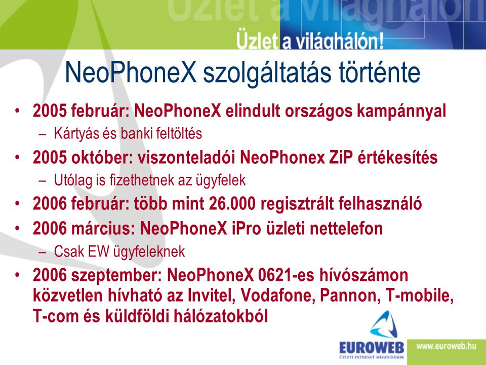 NeoPhoneX szolgáltatás történte • 2005 február: NeoPhoneX elindult országos kampánnyal –Kártyás és banki feltöltés • 2005 október: viszonteladói NeoPh