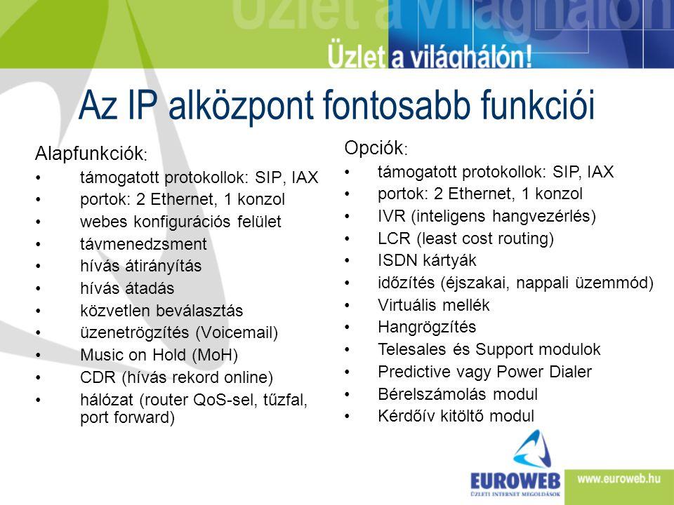 Az IP alközpont fontosabb funkciói Alapfunkciók : •támogatott protokollok: SIP, IAX •portok: 2 Ethernet, 1 konzol •webes konfigurációs felület •távmen