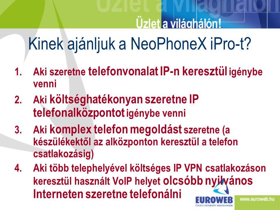 Kinek ajánljuk a NeoPhoneX iPro-t? 1.Aki szeretne telefonvonalat IP-n keresztül igénybe venni 2.Aki költséghatékonyan szeretne IP telefonalközpontot i