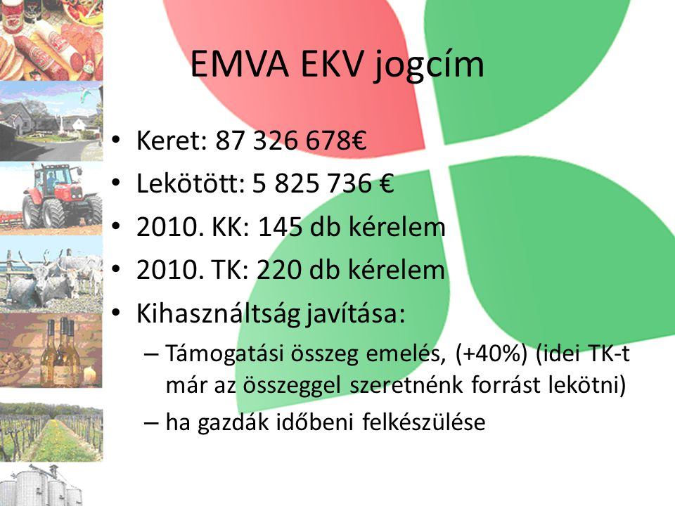 EMVA EKV jogcím • Keret: 87 326 678€ • Lekötött: 5 825 736 € • 2010.