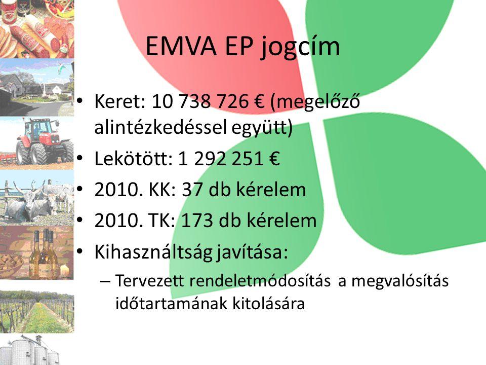 EMVA EP jogcím • Keret: 10 738 726 € (megelőző alintézkedéssel együtt) • Lekötött: 1 292 251 € • 2010.