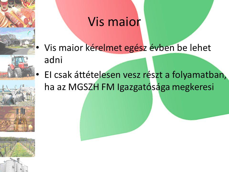 Vis maior • Vis maior kérelmet egész évben be lehet adni • EI csak áttételesen vesz részt a folyamatban, ha az MGSZH FM Igazgatósága megkeresi