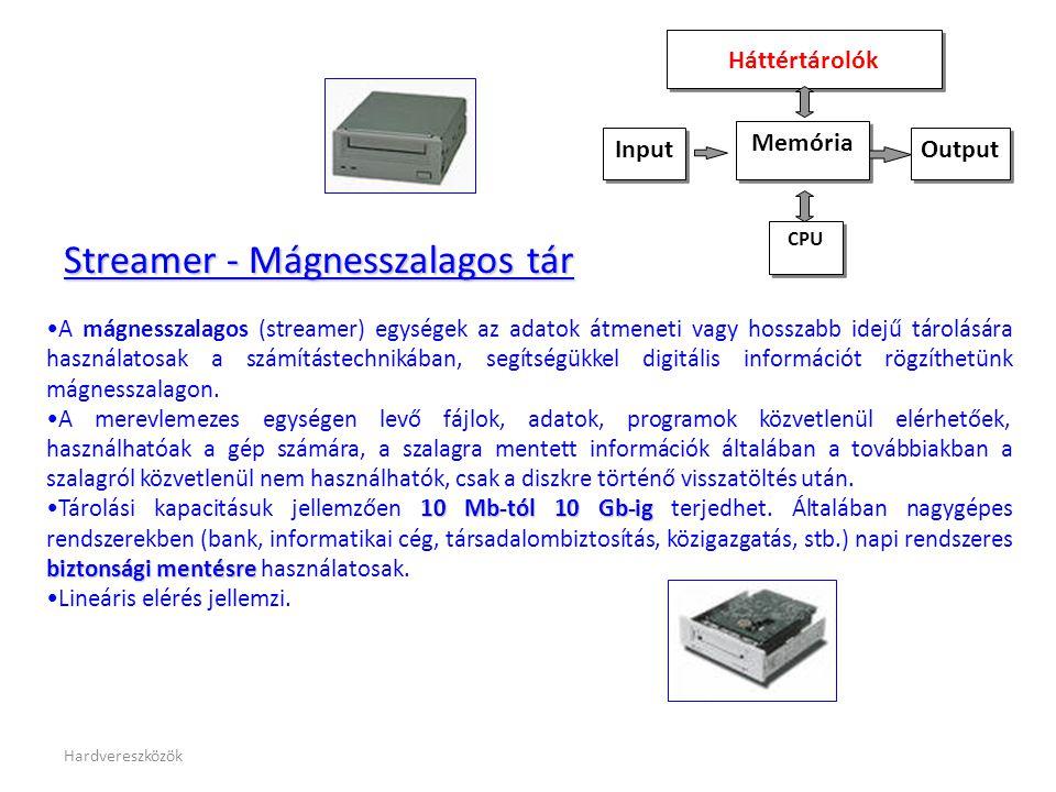 Hardvereszközök Streamer - Mágnesszalagos tár •A mágnesszalagos (streamer) egységek az adatok átmeneti vagy hosszabb idejű tárolására használatosak a számítástechnikában, segítségükkel digitális információt rögzíthetünk mágnesszalagon.