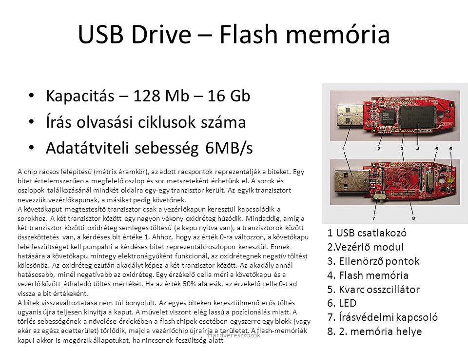 Hardvereszközök USB Drive – Flash memória • Kapacitás – 128 Mb – 16 Gb • Írás olvasási ciklusok száma • Adatátviteli sebesség 6MB/s 1 USB csatlakozó 2.Vezérlő modul 3.