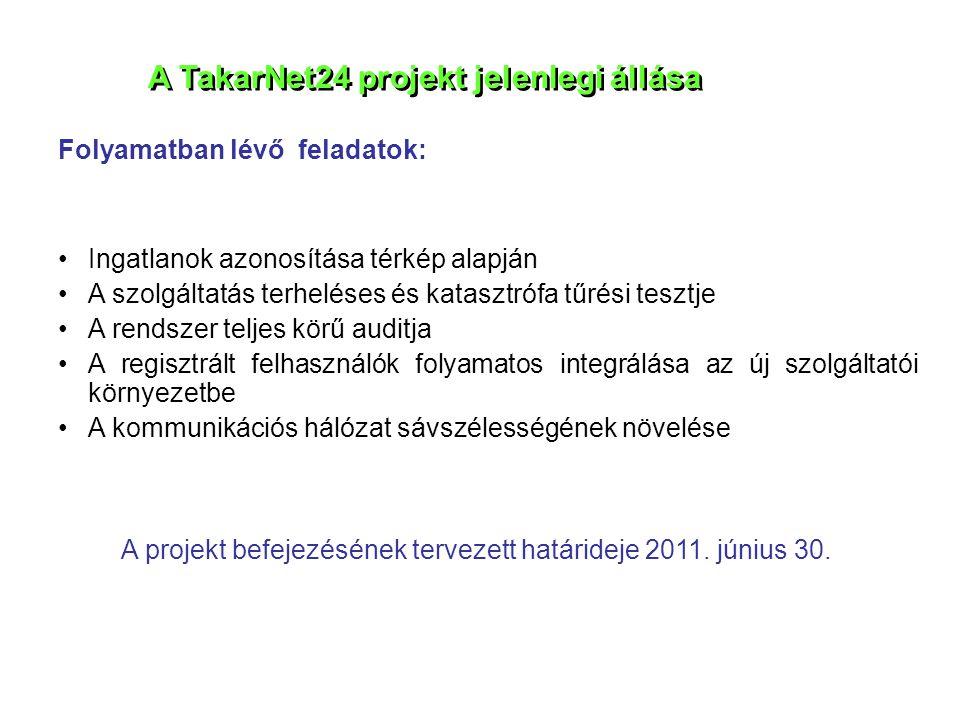 A TakarNet24 projekt jelenlegi állása Folyamatban lévő feladatok: •Ingatlanok azonosítása térkép alapján •A szolgáltatás terheléses és katasztrófa tűr
