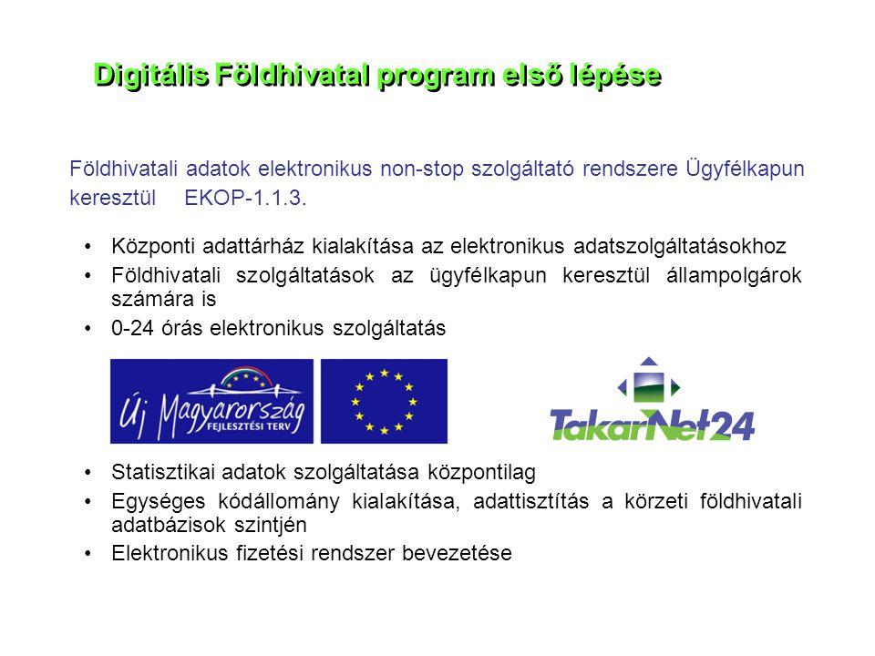 Digitális Földhivatal program első lépése •Központi adattárház kialakítása az elektronikus adatszolgáltatásokhoz •Földhivatali szolgáltatások az ügyfé