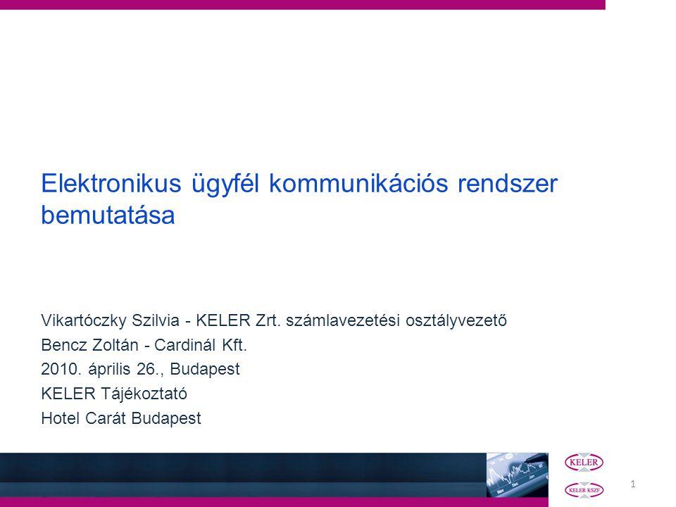 1 Elektronikus ügyfél kommunikációs rendszer bemutatása Vikartóczky Szilvia - KELER Zrt. számlavezetési osztályvezető Bencz Zoltán - Cardinál Kft. 201