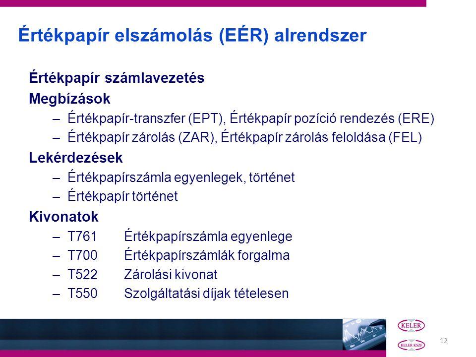 12 Értékpapír elszámolás (EÉR) alrendszer Értékpapír számlavezetés Megbízások –Értékpapír-transzfer (EPT), Értékpapír pozíció rendezés (ERE) –Értékpap
