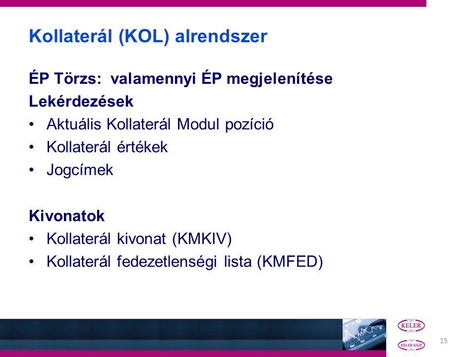 15 Kollaterál (KOL) alrendszer ÉP Törzs: valamennyi ÉP megjelenítése Lekérdezések •Aktuális Kollaterál Modul pozíció •Kollaterál értékek •Jogcímek Kiv