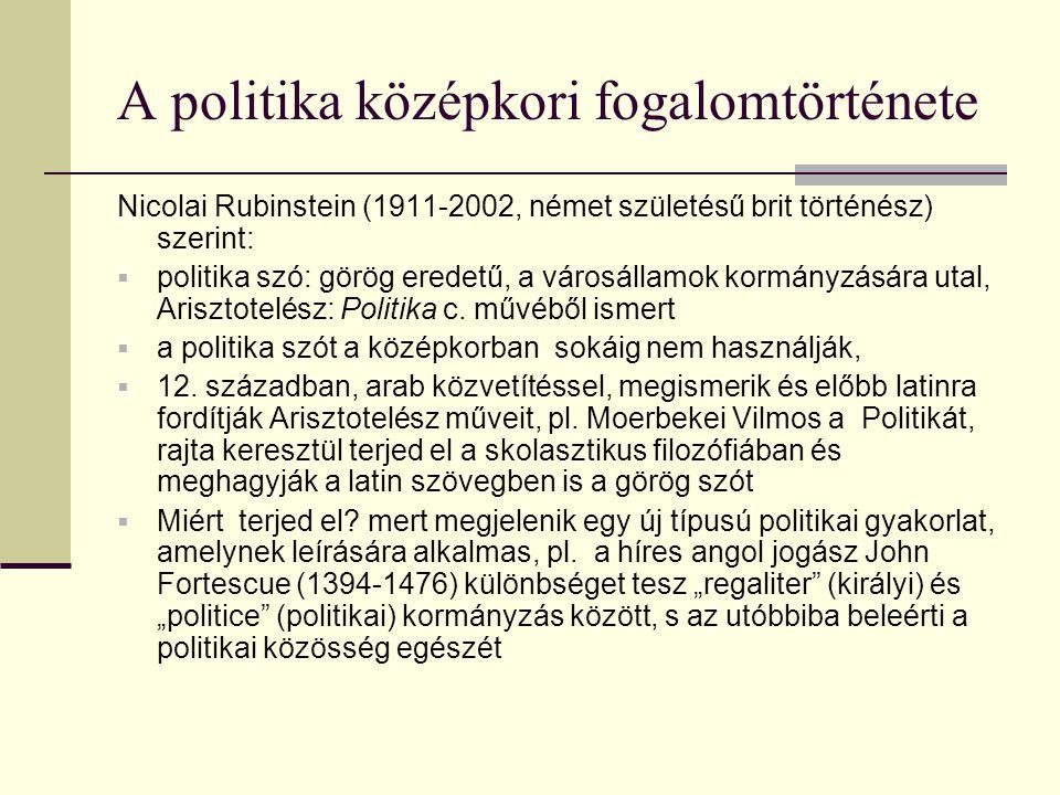 A politika középkori fogalomtörténete Nicolai Rubinstein (1911-2002, német születésű brit történész) szerint:  politika szó: görög eredetű, a városál