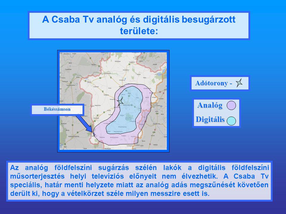 A Csaba Tv analóg és digitális besugárzott területe: Az analóg földfelszíni sugárzás szélén lakók a digitális földfelszíni műsorterjesztés helyi televíziós előnyeit nem élvezhetik.