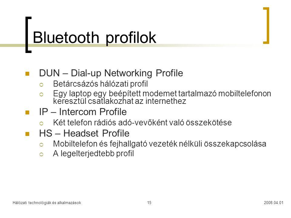 Hálózati technológiák és alkalmazások2008.04.0115 Bluetooth profilok  DUN – Dial-up Networking Profile  Betárcsázós hálózati profil  Egy laptop egy