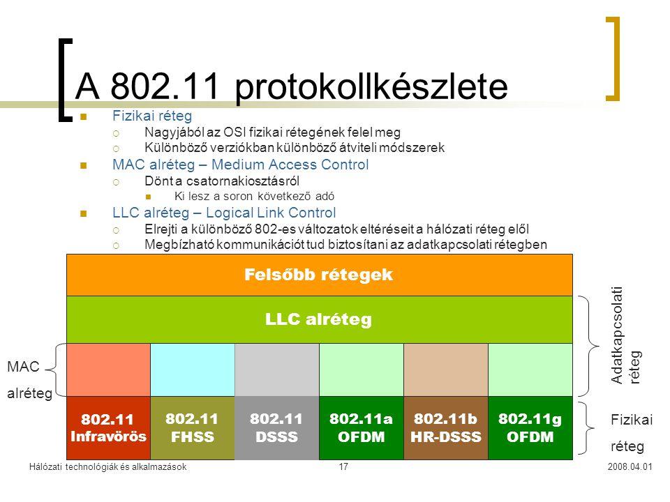 Hálózati technológiák és alkalmazások2008.04.0117 A 802.11 protokollkészlete  Fizikai réteg  Nagyjából az OSI fizikai rétegének felel meg  Különböz