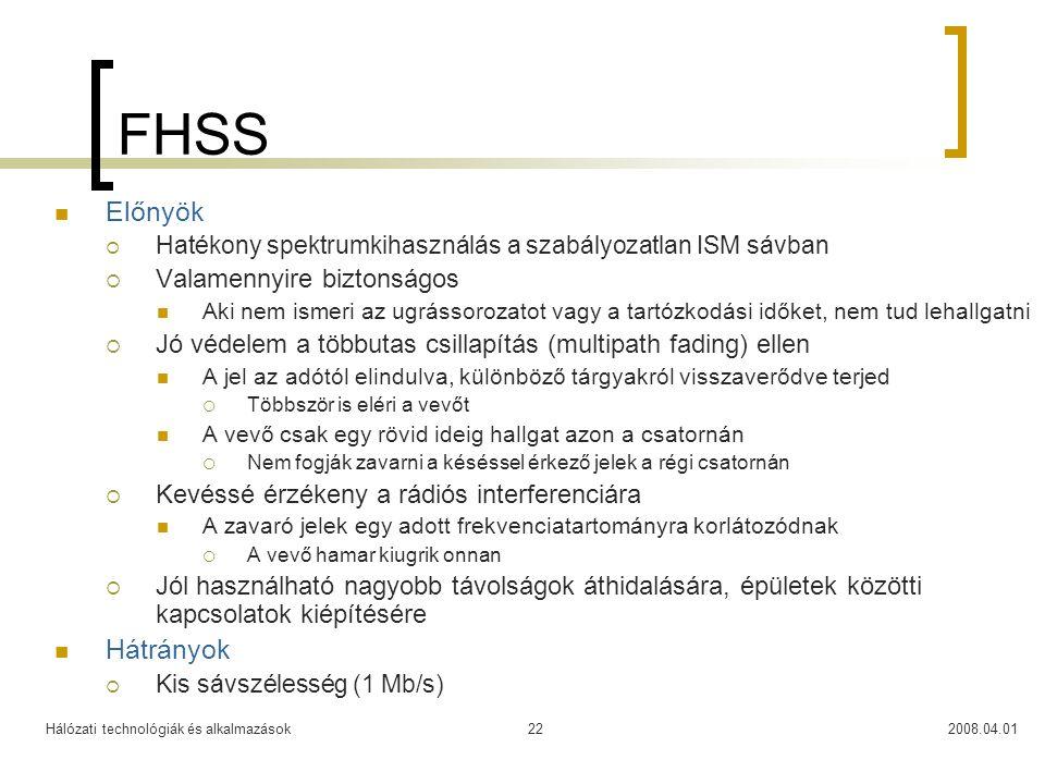 Hálózati technológiák és alkalmazások2008.04.0122 FHSS  Előnyök  Hatékony spektrumkihasználás a szabályozatlan ISM sávban  Valamennyire biztonságos