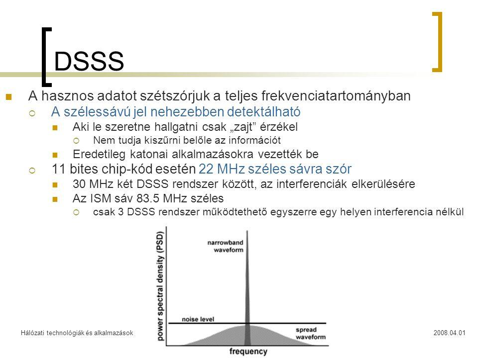 Hálózati technológiák és alkalmazások2008.04.0124 DSSS  A hasznos adatot szétszórjuk a teljes frekvenciatartományban  A szélessávú jel nehezebben de