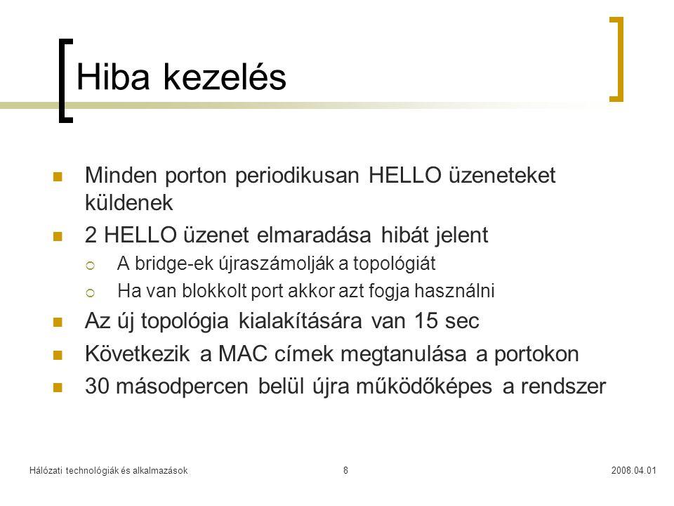 Hálózati technológiák és alkalmazások2008.04.018 Hiba kezelés  Minden porton periodikusan HELLO üzeneteket küldenek  2 HELLO üzenet elmaradása hibát