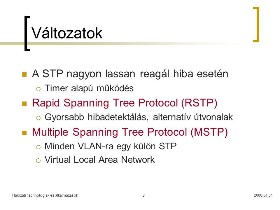 Hálózati technológiák és alkalmazások2008.04.019 Változatok  A STP nagyon lassan reagál hiba esetén  Timer alapú működés  Rapid Spanning Tree Proto