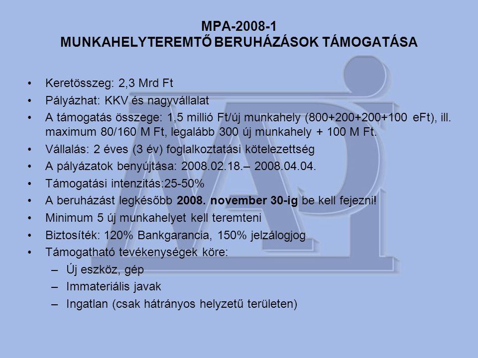 MPA-2008-1 MUNKAHELYTEREMTŐ BERUHÁZÁSOK TÁMOGATÁSA •Keretösszeg: 2,3 Mrd Ft •Pályázhat: KKV és nagyvállalat •A támogatás összege: 1,5 millió Ft/új munkahely (800+200+200+100 eFt), ill.
