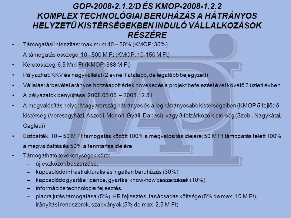 GOP-2008-2.1.2/D ÉS KMOP-2008-1.2.2 KOMPLEX TECHNOLÓGIAI BERUHÁZÁS A HÁTRÁNYOS HELYZETŰ KISTÉRSÉGEKBEN INDULÓ VÁLLALKOZÁSOK RÉSZÉRE •Támogatási intenzitás: maximum 40 – 50% (KMOP: 30%) A támogatás összege: 10 - 500 M Ft (KMOP: 10-150 M Ft) •Keretösszeg: 6,5 Mrd Ft (KMOP: 988 M Ft) •Pályázhat: KKV és nagyvállalat (2 évnél fiatalabb, de legalább bejegyzett) •Vállalás: árbevétel arányos hozzáadott érték növekedés a projekt befejezési évét követő 2 üzleti évben •A pályázatok benyújtása: 2008.05.05.