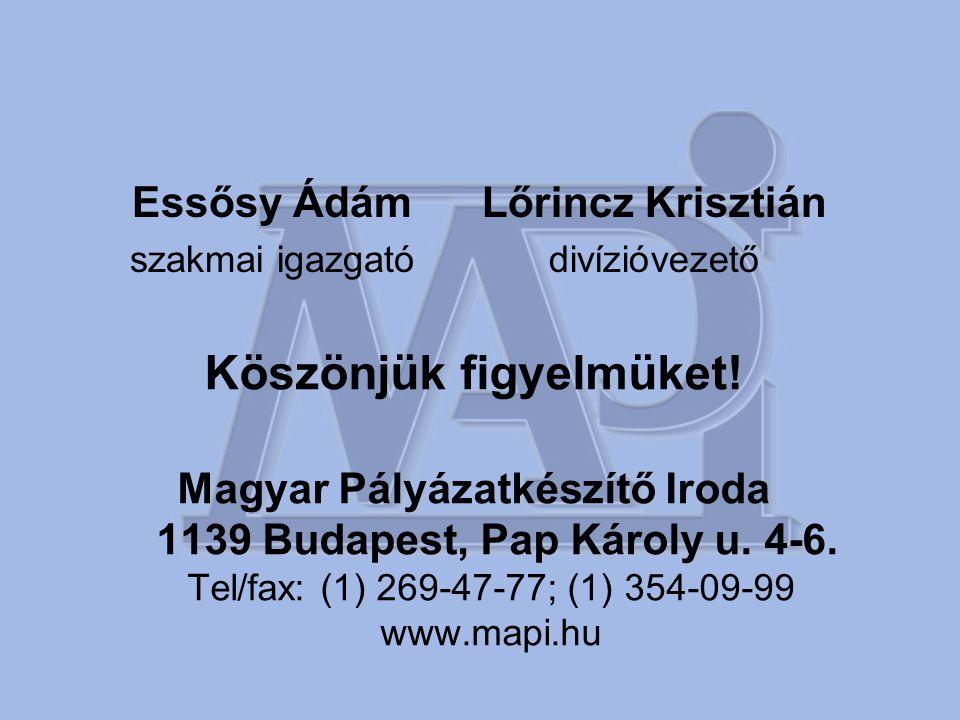 Köszönjük figyelmüket! Magyar Pályázatkészítő Iroda 1139 Budapest, Pap Károly u. 4-6. Tel/fax: (1) 269-47-77; (1) 354-09-99 www.mapi.hu Essősy Ádám sz