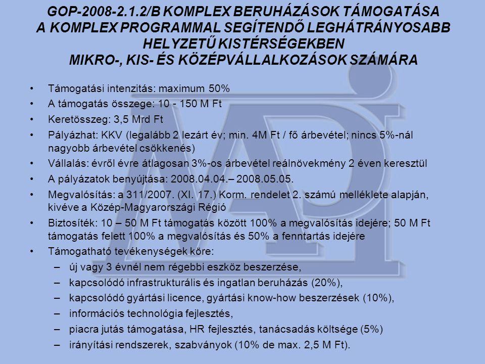 GOP-2008-2.1.2/B KOMPLEX BERUHÁZÁSOK TÁMOGATÁSA A KOMPLEX PROGRAMMAL SEGÍTENDŐ LEGHÁTRÁNYOSABB HELYZETŰ KISTÉRSÉGEKBEN MIKRO-, KIS- ÉS KÖZÉPVÁLLALKOZÁSOK SZÁMÁRA •Támogatási intenzitás: maximum 50% •A támogatás összege: 10 - 150 M Ft •Keretösszeg: 3,5 Mrd Ft •Pályázhat: KKV (legalább 2 lezárt év; min.