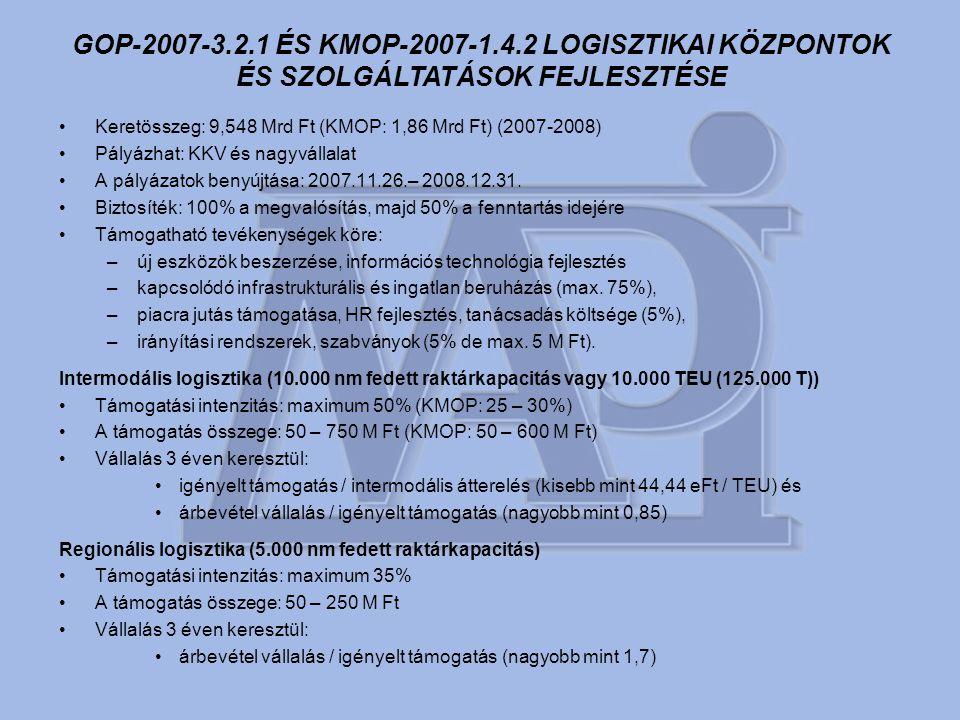 •Keretösszeg: 9,548 Mrd Ft (KMOP: 1,86 Mrd Ft) (2007-2008) •Pályázhat: KKV és nagyvállalat •A pályázatok benyújtása: 2007.11.26.– 2008.12.31.