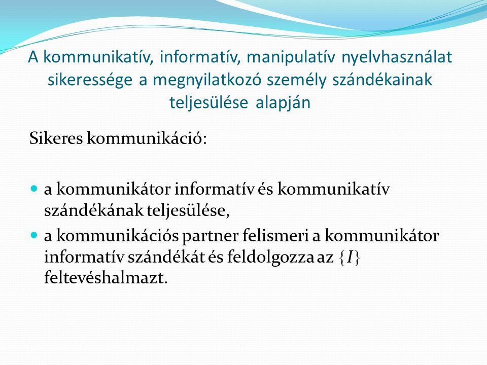 A kommunikatív, informatív, manipulatív nyelvhasználat sikeressége a megnyilatkozó személy szándékainak teljesülése alapján Sikeres kommunikáció:  a