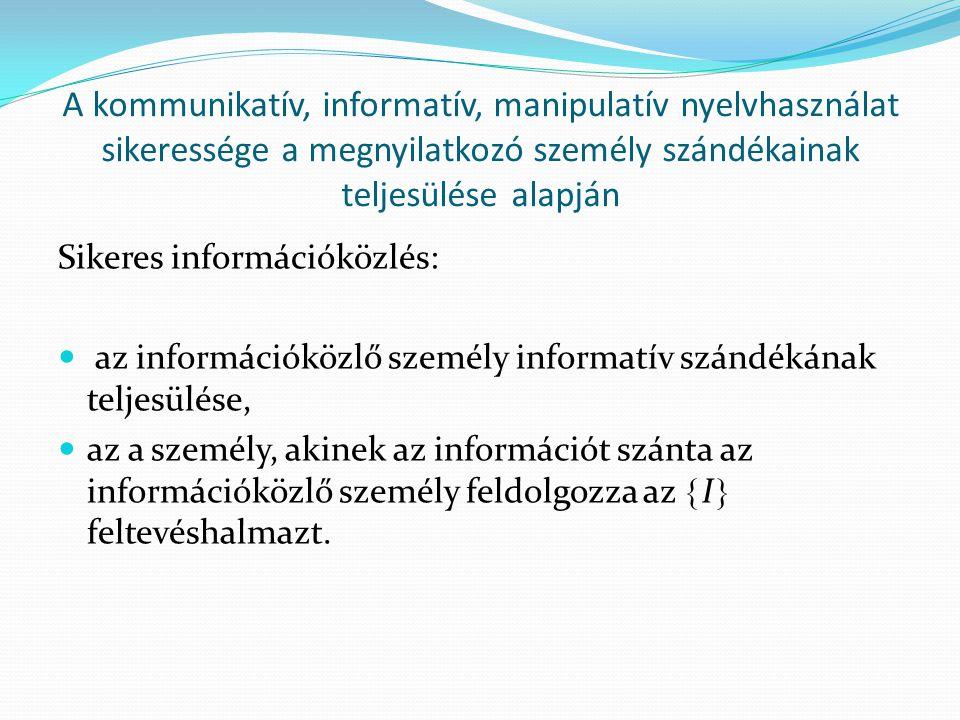 A kommunikatív, informatív, manipulatív nyelvhasználat sikeressége a megnyilatkozó személy szándékainak teljesülése alapján Sikeres információközlés:  az információközlő személy informatív szándékának teljesülése,  az a személy, akinek az információt szánta az információközlő személy feldolgozza az  I  feltevéshalmazt.
