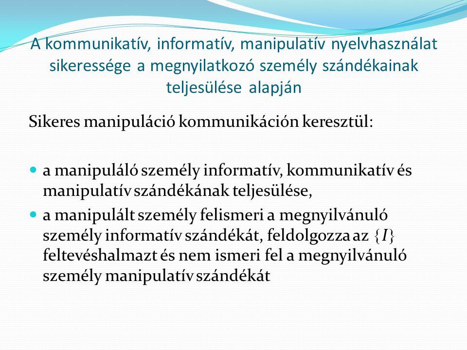 A kommunikatív, informatív, manipulatív nyelvhasználat sikeressége a megnyilatkozó személy szándékainak teljesülése alapján Sikeres manipuláció kommunikáción keresztül:  a manipuláló személy informatív, kommunikatív és manipulatív szándékának teljesülése,  a manipulált személy felismeri a megnyilvánuló személy informatív szándékát, feldolgozza az  I  feltevéshalmazt és nem ismeri fel a megnyilvánuló személy manipulatív szándékát