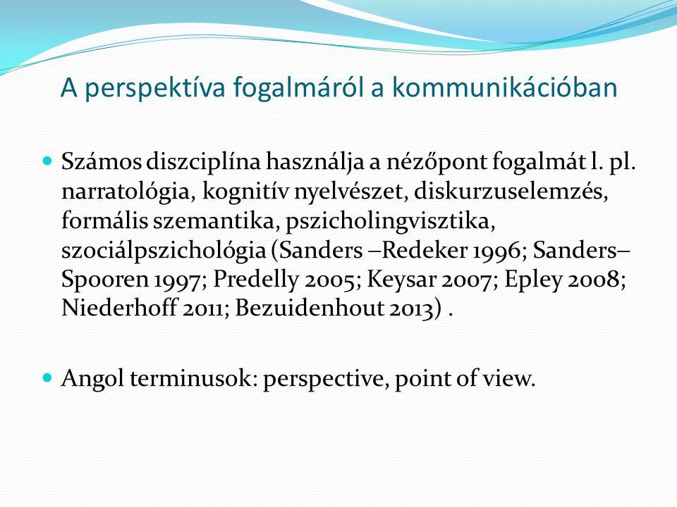 A perspektíva fogalmáról a kommunikációban  Számos diszciplína használja a nézőpont fogalmát l. pl. narratológia, kognitív nyelvészet, diskurzuselemz
