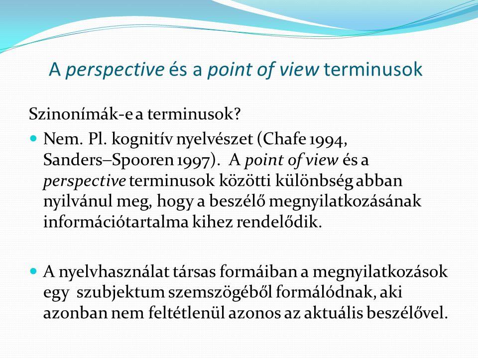 A perspective és a point of view terminusok Szinonímák-e a terminusok?  Nem. Pl. kognitív nyelvészet (Chafe 1994, Sanders  Spooren 1997). A point of