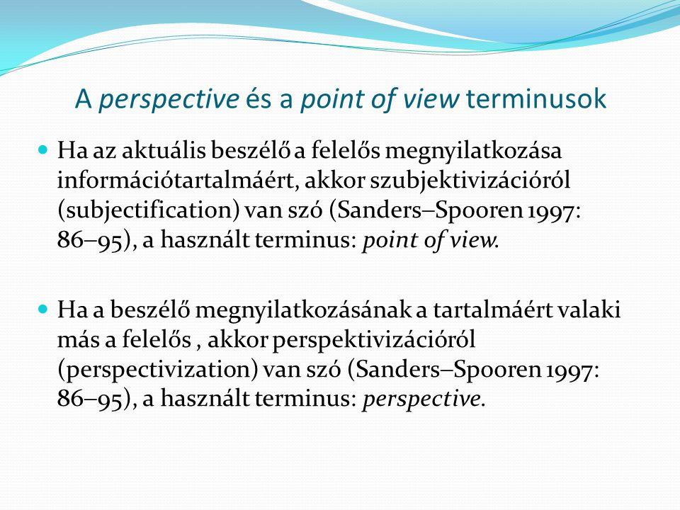A perspective és a point of view terminusok  Ha az aktuális beszélő a felelős megnyilatkozása információtartalmáért, akkor szubjektivizációról (subjectification) van szó (Sanders  Spooren 1997: 86  95), a használt terminus: point of view.