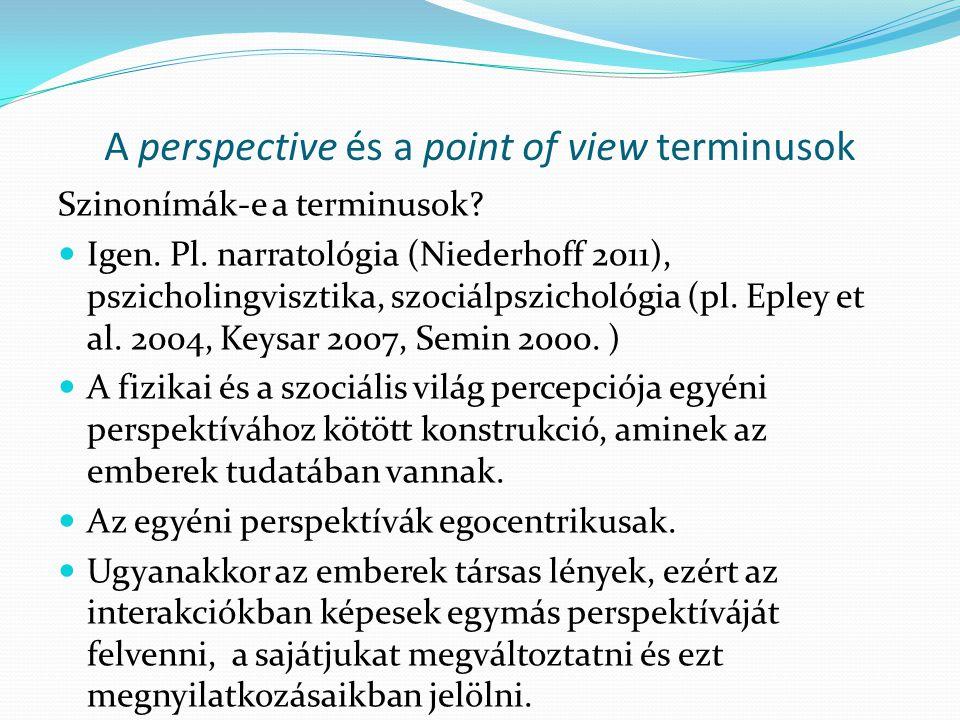 A perspective és a point of view terminusok Szinonímák-e a terminusok?  Igen. Pl. narratológia (Niederhoff 2011), pszicholingvisztika, szociálpszicho