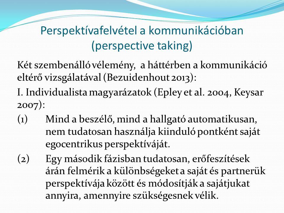 Perspektívafelvétel a kommunikációban (perspective taking) Két szembenálló vélemény, a háttérben a kommunikáció eltérő vizsgálatával (Bezuidenhout 2013): I.
