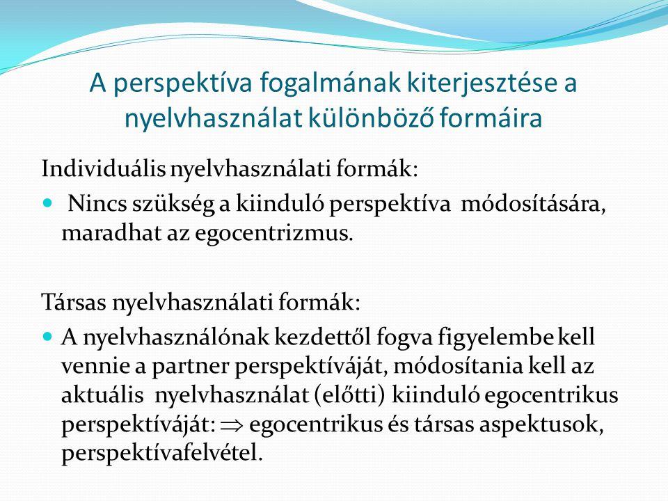 A perspektíva fogalmának kiterjesztése a nyelvhasználat különböző formáira Individuális nyelvhasználati formák:  Nincs szükség a kiinduló perspektíva módosítására, maradhat az egocentrizmus.