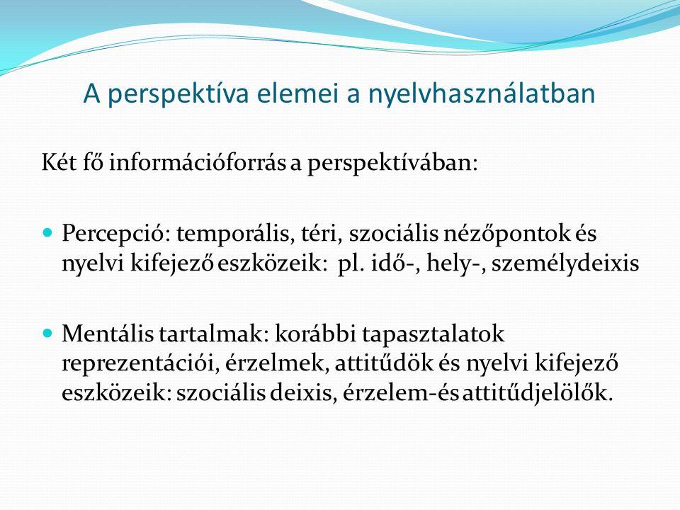 A perspektíva elemei a nyelvhasználatban Két fő információforrás a perspektívában:  Percepció: temporális, téri, szociális nézőpontok és nyelvi kifejező eszközeik: pl.