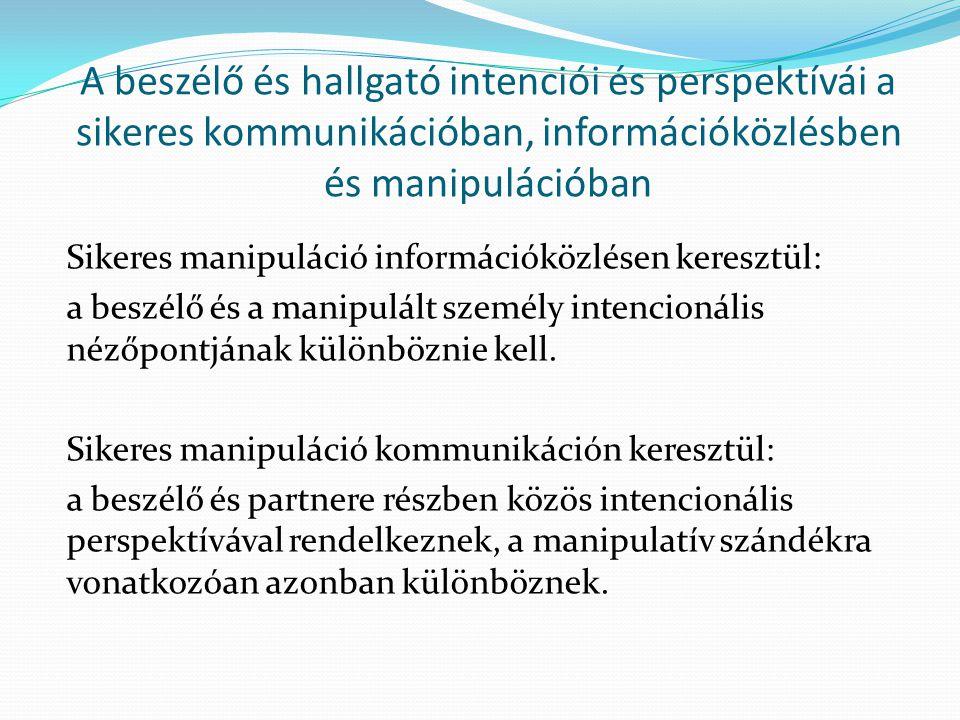 A beszélő és hallgató intenciói és perspektívái a sikeres kommunikációban, információközlésben és manipulációban Sikeres manipuláció információközlésen keresztül: a beszélő és a manipulált személy intencionális nézőpontjának különböznie kell.