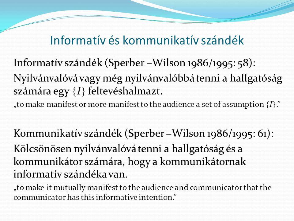 Az osztenzív-következtetéses kommunikáció meghatározása (Sperber  Wilson (1986/1995: 63) A kommunikátor létrehoz egy stimulust, amely kölcsönösen nyilvánvalóvá teszi a kommunikátor és a hallgatóság számára, hogy a kommunikátor ezen stimulus segítségével nyilvánvalóvá vagy még nyilvánvalóbbá szándékozik tenni a hallgatóság számára egy  I  feltevéshalmazt.