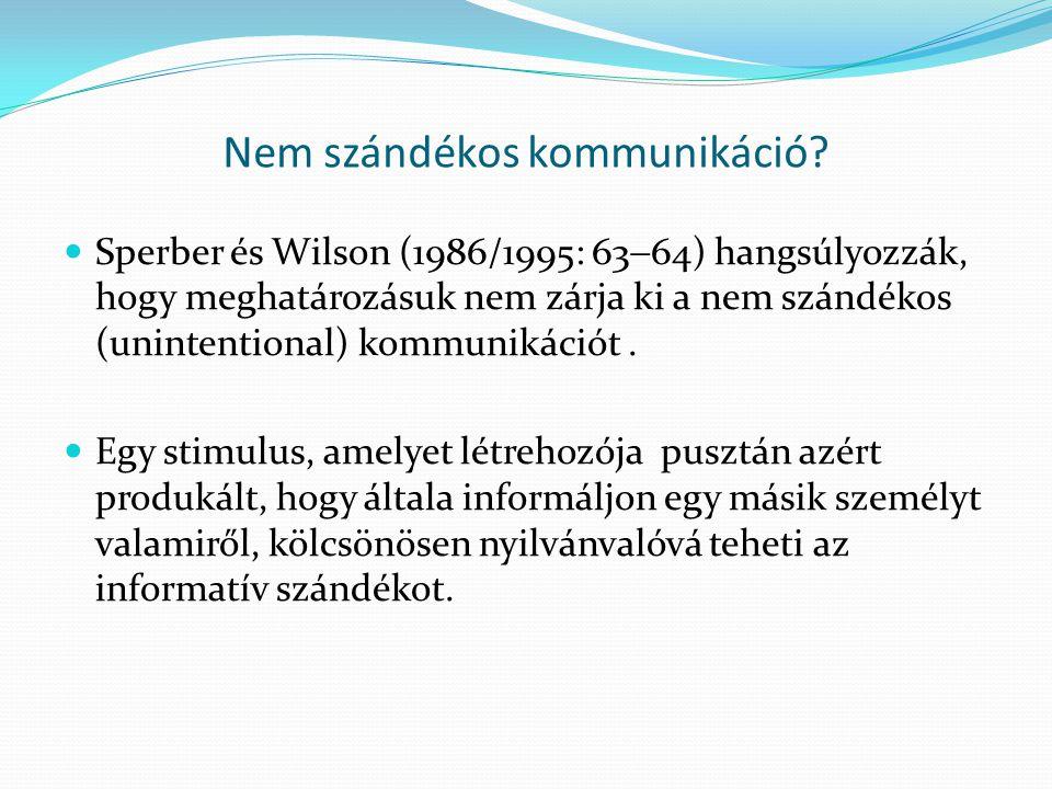 Nem szándékos kommunikáció?  Sperber és Wilson (1986/1995: 63  64) hangsúlyozzák, hogy meghatározásuk nem zárja ki a nem szándékos (unintentional) k
