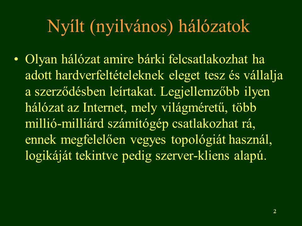 2 Nyílt (nyilvános) hálózatok •Olyan hálózat amire bárki felcsatlakozhat ha adott hardverfeltételeknek eleget tesz és vállalja a szerződésben leírtakat.