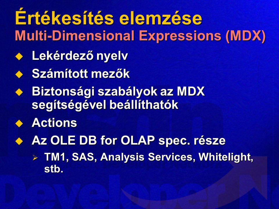 Értékesítés elemzése Multi-Dimensional Expressions (MDX)  Lekérdező nyelv  Számított mezők  Biztonsági szabályok az MDX segítségével beállíthatók  Actions  Az OLE DB for OLAP spec.