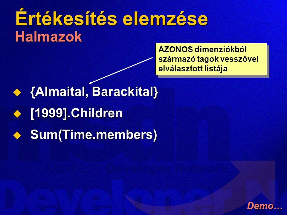 Értékesítés elemzése Halmazok  {Almaital, Barackital}  [1999].Children  Sum(Time.members) AZONOS dimenziókból származó tagok vesszővel elválasztott listája Demo…