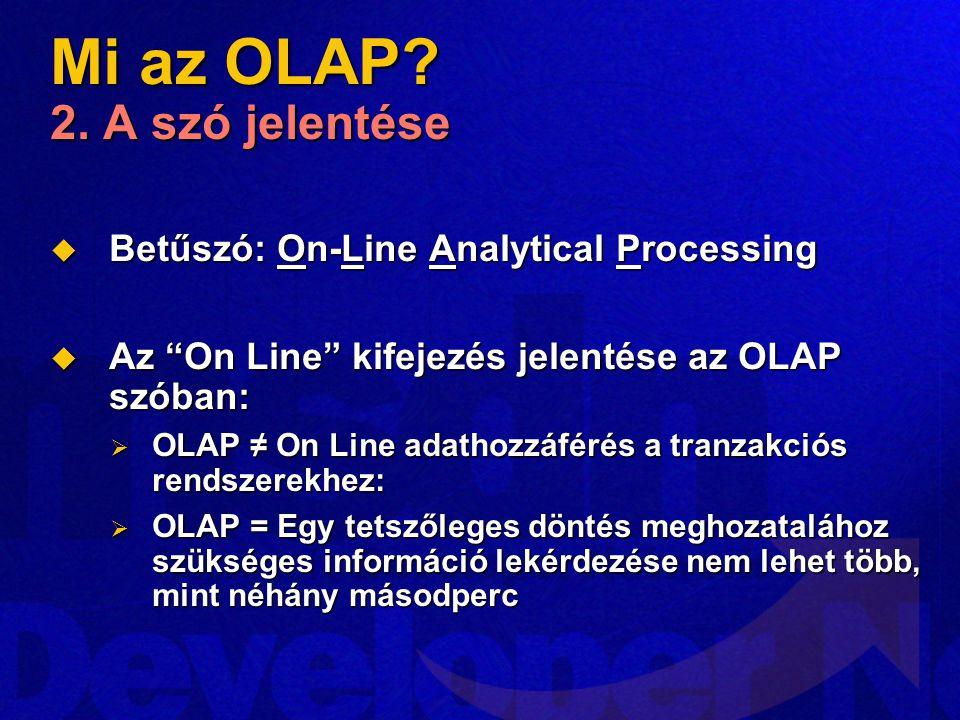 """Mi az OLAP? 2. A szó jelentése  Betűszó: On-Line Analytical Processing  Az """"On Line"""" kifejezés jelentése az OLAP szóban:  OLAP ≠ On Line adathozzáf"""