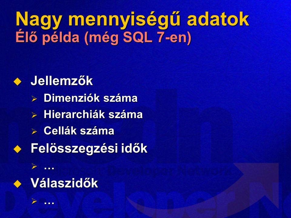 Nagy mennyiségű adatok Élő példa (még SQL 7-en)  Jellemzők  Dimenziók száma  Hierarchiák száma  Cellák száma  Felösszegzési idők  …  Válaszidők