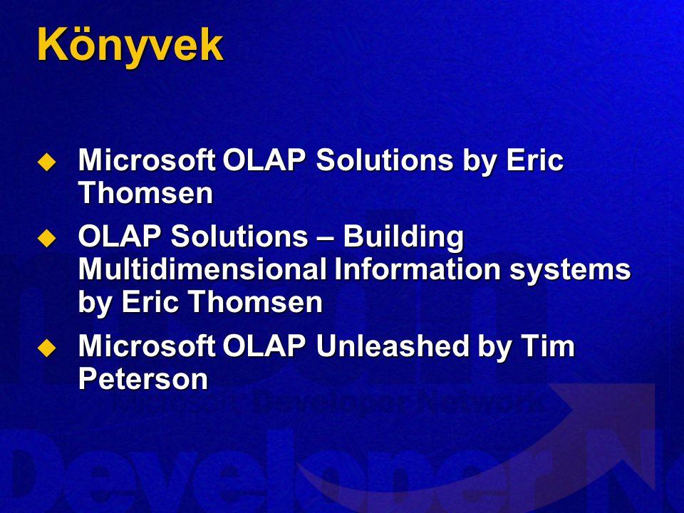 Könyvek  Microsoft OLAP Solutions by Eric Thomsen  OLAP Solutions – Building Multidimensional Information systems by Eric Thomsen  Microsoft OLAP U