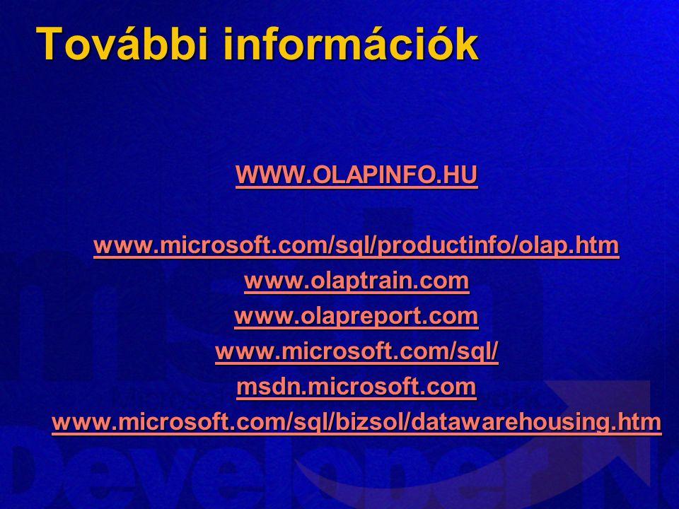 További információk WWW.OLAPINFO.HU www.microsoft.com/sql/productinfo/olap.htm www.olaptrain.com www.olapreport.com www.microsoft.com/sql/ msdn.microsoft.com www.microsoft.com/sql/bizsol/datawarehousing.htm