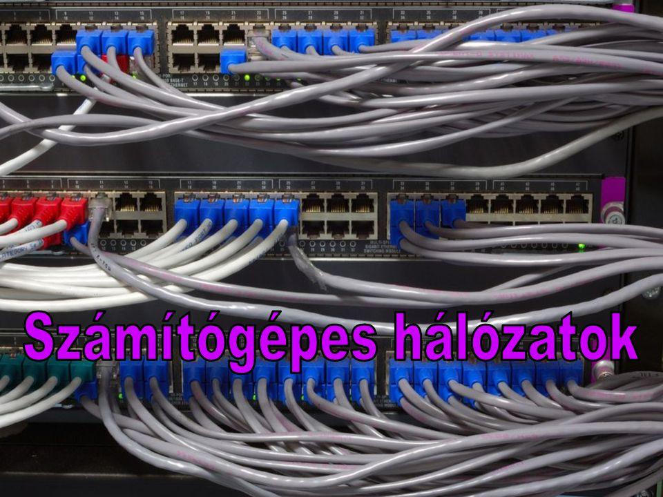 Tartalom •Hálózat fogalmaHálózat fogalma •Számítógépek hálózatba kapcsolásának előnyei, hárányaiSzámítógépek hálózatba kapcsolásának előnyei, hárányai •Hálózatok fajtáiHálózatok fajtái –1 - kiterjedtség szerint1 - kiterjedtség szerint –2 - az összekapcsolt gépek szerepe alapján2 - az összekapcsolt gépek szerepe alapján –3 - a csatlakozás feltételei alapján3 - a csatlakozás feltételei alapján •A hálózat hardver alkotóelemeiA hálózat hardver alkotóelemei –Adatátviteli közegAdatátviteli közeg –Hálózati csatolóeszközökHálózati csatolóeszközök –Közbenső csomópontokKözbenső csomópontok •Hálózati topológiákHálózati topológiák –Sín (busz)Sín (busz) –GyűrűGyűrű –CsillagCsillag –FaFa –Vegyes topológiákVegyes topológiák •Hálózati szoftverHálózati szoftver •ProtokollProtokoll •ISO – OSI referenciamodellISO – OSI referenciamodell