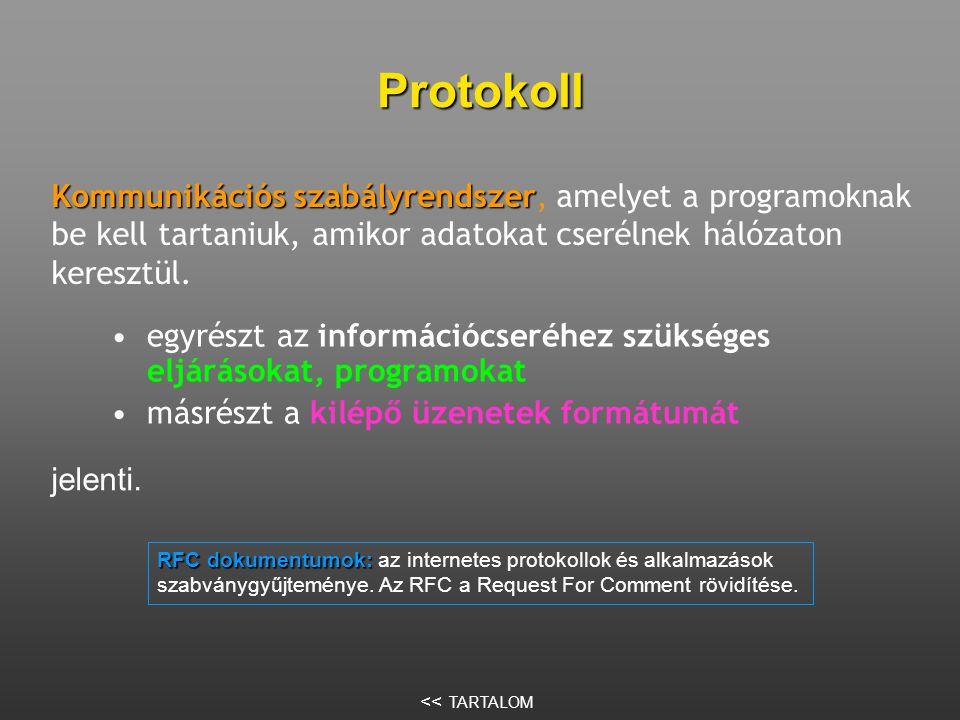 Protokoll •egyrészt az információcseréhez szükséges eljárásokat, programokat •másrészt a kilépő üzenetek formátumát Kommunikációs szabályrendszer Kommunikációs szabályrendszer, amelyet a programoknak be kell tartaniuk, amikor adatokat cserélnek hálózaton keresztül.
