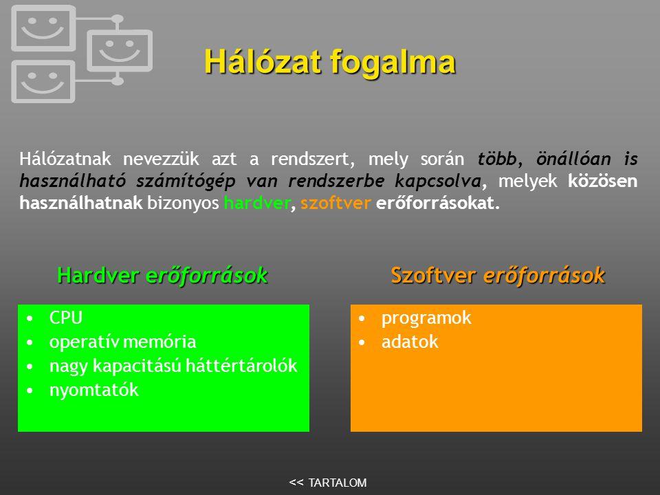 Számítógépek hálózatba kapcsolásának ElőnyeiHátrányai •Közös erőforrás-használat •Biztonságnövelés •Sebességnövelés •Több felhasználós adatbázisok használata •Biztonsági igény •Költséges kialakítás •Bonyolultabb szoftverek << TARTALOM
